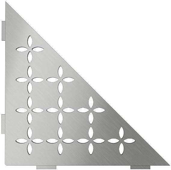 SES3D5EB Floral Design Brushed Stainless Steel Quadrilat Corner Shelf-E