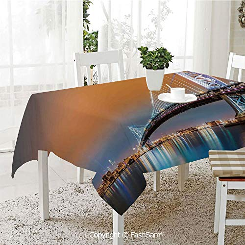 FashSam 3D Dinner Print Tablecloths Ben Franklin Bridge and Philadelphia Skyline Viewed from Camden Across The Delaware River Decorative Tablecloth Rectangle Table Cover for Kitchen(W60 xL84) for $<!--$28.00-->