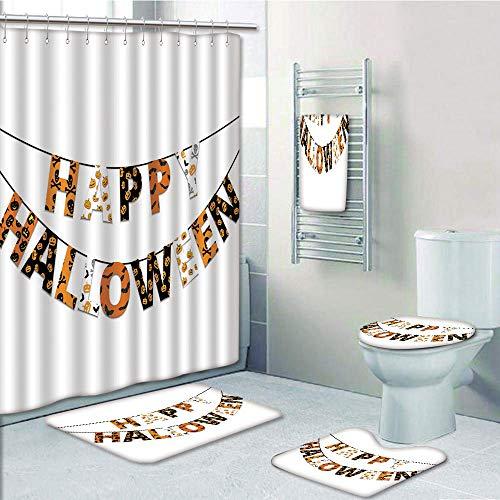 Bathroom Fashion 5 Piece Set shower curtain 3d print,Halloween,Happy Halloween Banner Greetings Pumpkins Skull Cross Bones Bats Pennant Decorative,Orange Black White,Bath Mat,Bathroom Carpet Rug,Non-S