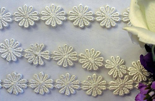 3 Yard Lot, Beautiful 10 Pedal Venice Lace Daisy Trim, Thick Quality Item, - Trim Daisy