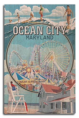 - Lantern Press Ocean City, Maryland - Montage Scenes (10x15 Wood Wall Sign, Wall Decor Ready to Hang)