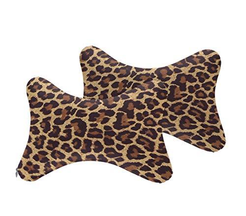 NiYoung 2PCS Cartoon Styling Car Headrest Protect Neck Pillow Cartoon Travel Rest Pillow Cushion Pad (Cool Cheetah ()