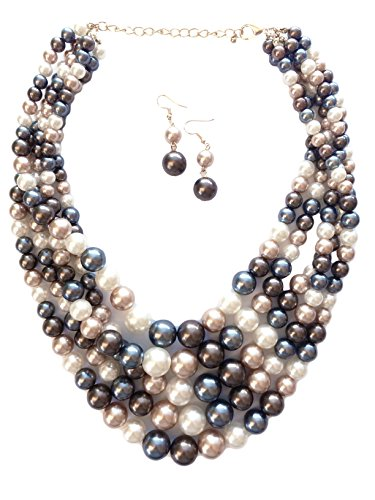 Pearl Necklace Acrylic (Secret for Longevity Multi Five Strand Resin Acrylic Blue Grey Tahitian Chocolate Brown Tan Beige Faux Pearl Big Chunky Statement Necklace Earring Set)