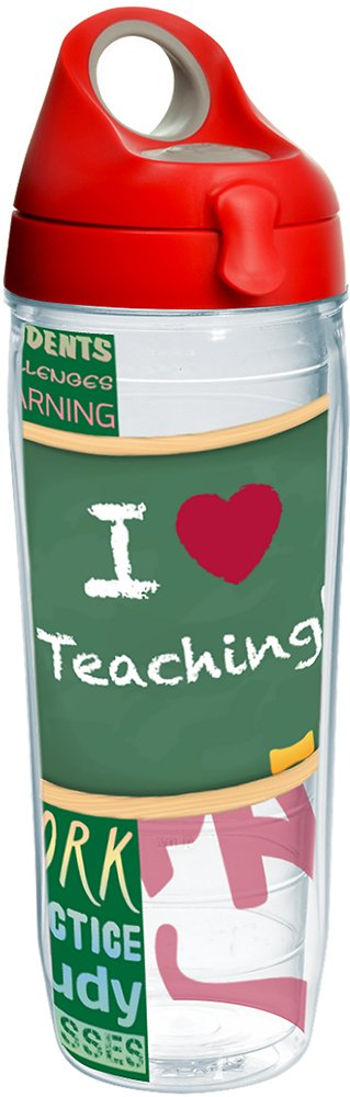 Tervis 1232458 I Love Teaching Tumbler with Wrap and Red with Gray Lid 24oz Water Bottle, Clear
