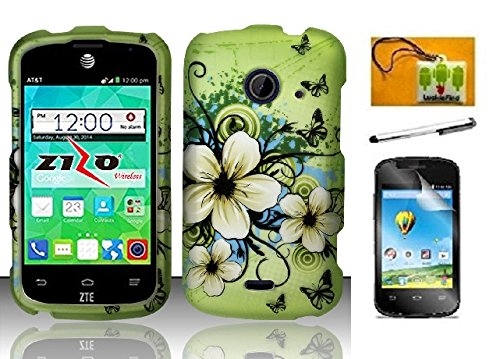 (LF 4 in 1 Bundle - Designer Hard Case Cover, Lf Stylus Pen, Screen Protector & Droid Wiper Accessory For ZTE Z667 (AT&T) Zinger (T-Mobile) Whirl 2 (Net 10) (Designer Hawaiian Flower))