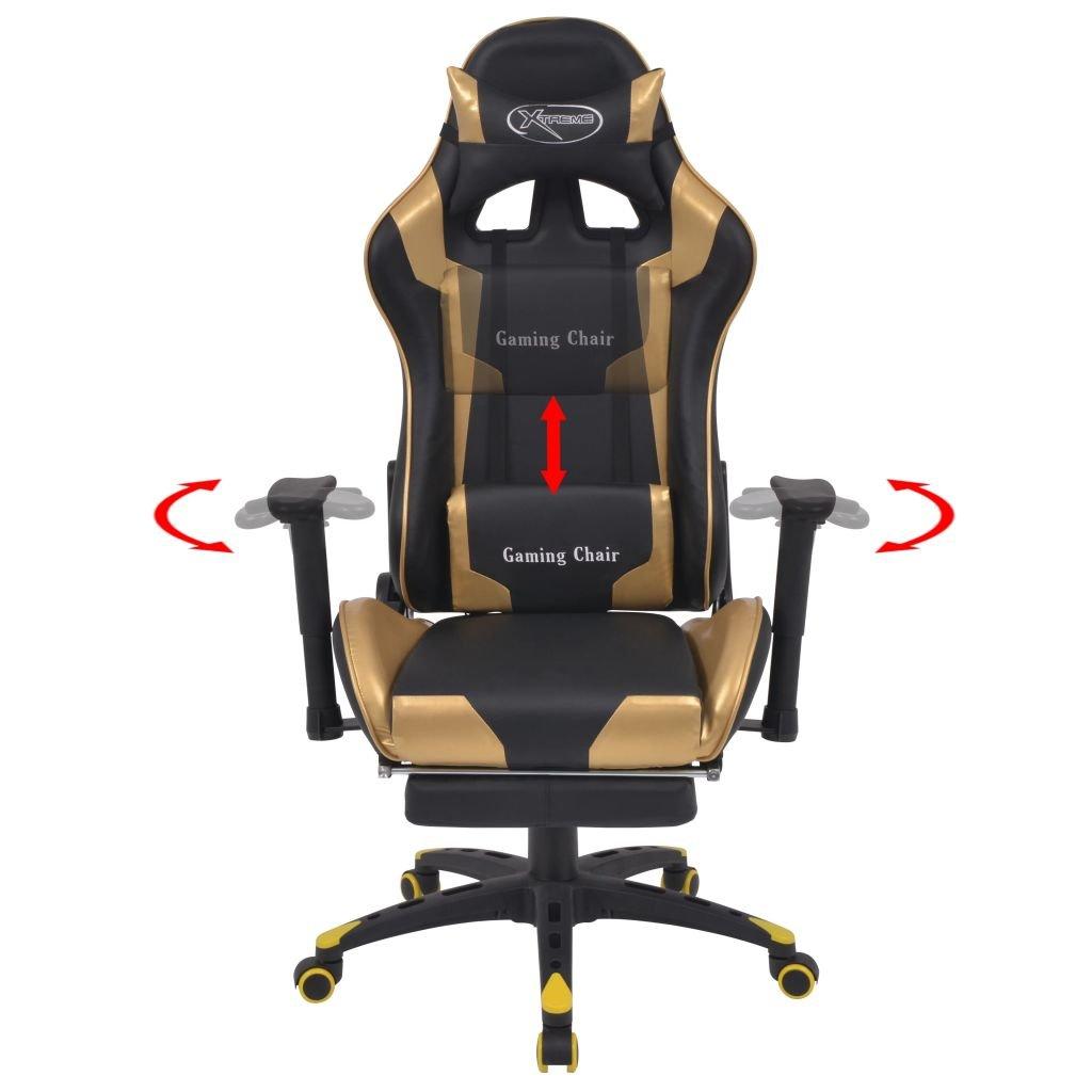 vidaXL Bürostuhl Neigbar mit Fußstütze Gold Gaming Stuhl Chefsessel ...