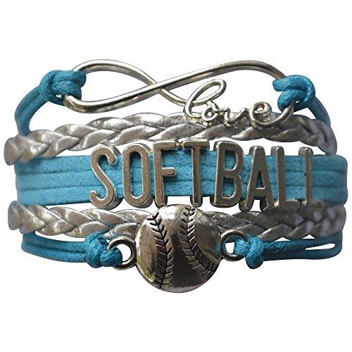 Softball Charm Bracelet - Infinity Love Adjustable Charm Bracelet with Softball Charm for Softball Players -