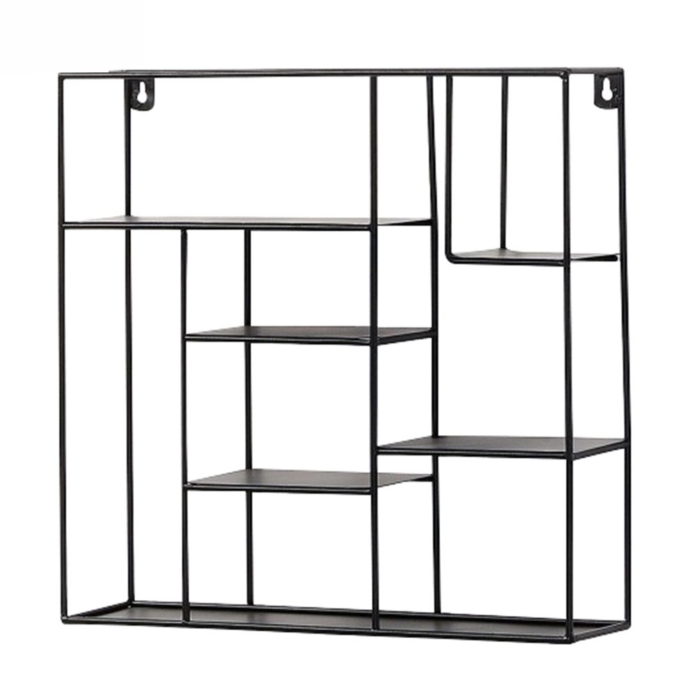 CHAOXIAN Wall Mount Shelf Living Room Cuboid Storage Shelf Iron Art Multi-Layer Partition