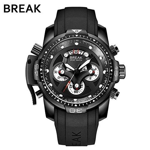 BREAK Men Casual Fashion Unique Sport Rubber Band Chronograph Quartz Waterproof Top Luxury Brand Wristwatches Man Watches