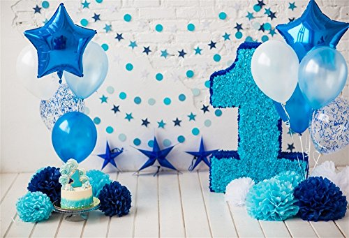 LFEEY 5x3ft Happy 1st Birthday Photo Booth Paper Flowers Balloons Wood Floor Background Cloth Girl Boy Happy One Year Old First Cake Smash Party Backdrop for Pictures Photo Studio Props