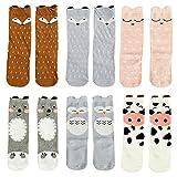Gellwhu Baby Girls Boys Knee High Stockings Cartoon Animal Socks 6 Packs Set (1-3 Years, 6-Pack Set A)