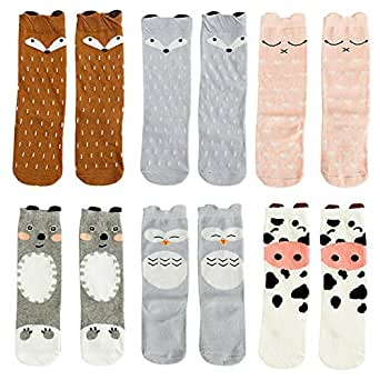 Gellwhu Baby Girls Boys Knee High Stockings Cartoon Animal Socks 6 Packs Set (0-12 Months, 6-Pack Set A)