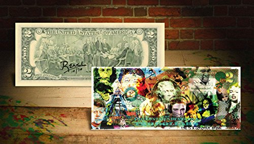 COLLAGE COLORFUL DREAM Rency / Banksy Pop Art $2 Bill US - Signed by Artist #/70