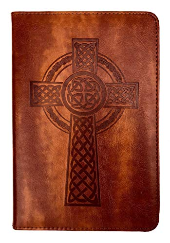 Celtic Cross Journal by SohoSpark, Writing Journal, Personal Diary, Lined Journal, Writers Travel Notebook, 6x8.75, Lay Flat Binding, Faux Leather, Refillable, Gift, Fountain Pen Safe