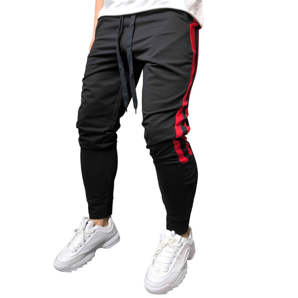 ANJUNIE Men Joggers, Cargo Sport Drawstring Pants Cotton Trousers with Side Taping(Black,XXL)