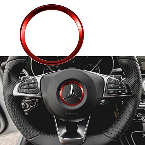1x Red Steering Wheel Center Decoration Cover Trim For 2015+ Mercedes C E CLA GLA GLC GLE Class - Center Cover Steering Wheel Wheels