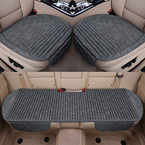LUCKYMAN CLUB Full Set Car Seat Cushion with Lavender and Buckwheat Shell Comfortable and Breathable Fabric Seat Covers Fit for Trucks Vans Cars SUV (3 PCS Full Set, Gray White)