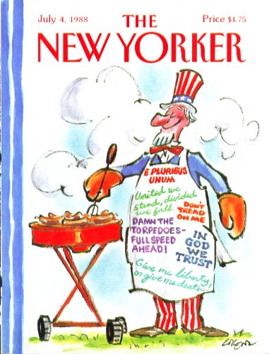 (New Yorker cover Lorenz Uncle Sam with patriotic slogan cookout apron 7/4 1988)