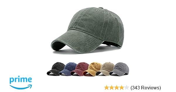 86bb1f7db2e HH HOFNEN Men Women Washed Twill Cotton Baseball Cap Vintage Adjustable Dad  Hat at Amazon Men s Clothing store