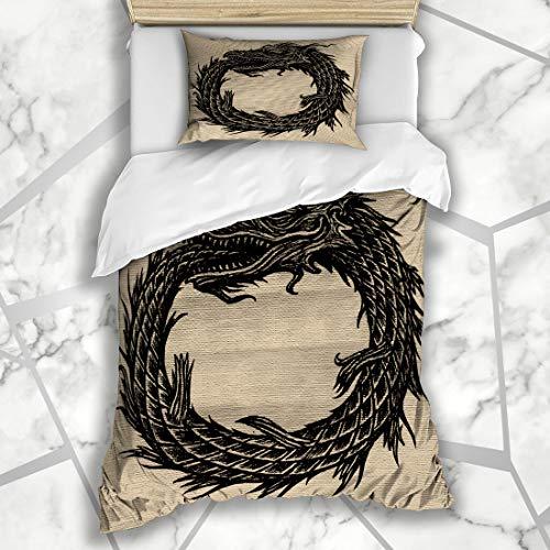 Ahawoso Duvet Cover Sets Twin 68X86 Occult Alchemy Snake Uroboros Ages Monster Black Book Cells Conveyor Dark Manuscript Microfiber Bedding with 1 Pillow Shams