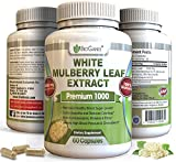 Pure White Mulberry Leaf Extract Premium 1000mg | Natural High & Low Blood Sugar Control & Weight Loss Support Supplement – Fiber Rich, Increases Energy (60 Veggie Capsule Pills of 500mg)