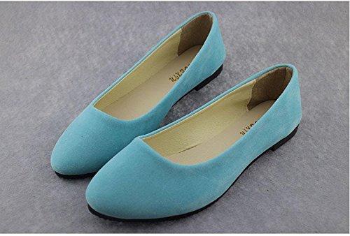 tacco Scarpe scamosciata amp; da CN43 LvYuan moda amp; camminate mocassini piatto comodità scarpe scarpe donna casual da pelle casual pigro blue ginnastica carriera ufficio lake wqd8Id