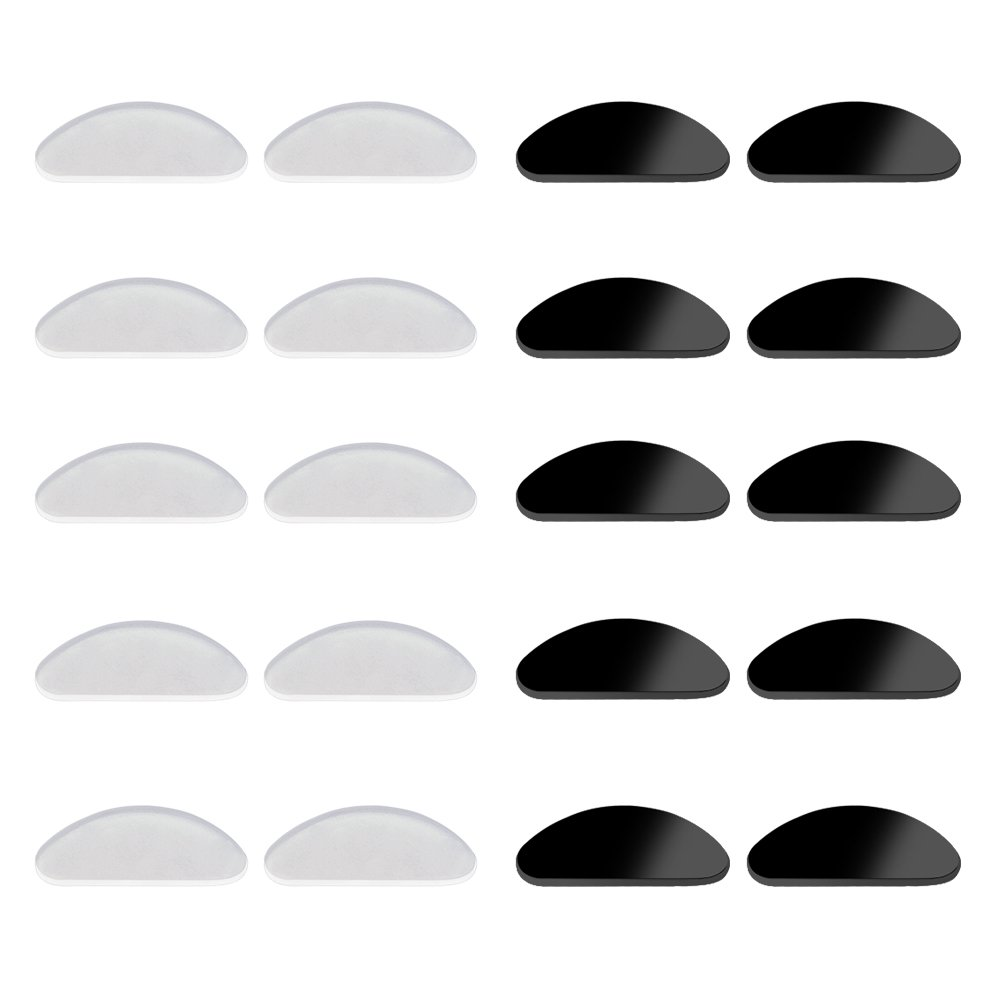 YR Soft Silicone Glasses Nose Pads, Anti-slip Adhesive Eyeglass Nose Pads For Sunglasses, Reading glasses, 1mm, Black and Clear, 10 Pairs.