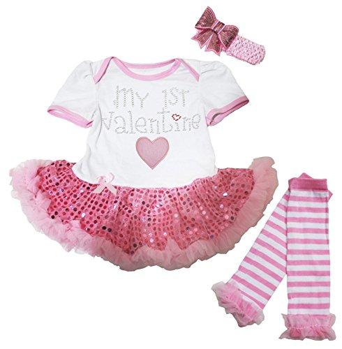 Valentines Day Dress (My 1st Valentine Baby Dress White Bodysuit Pink Sequin Tutu Leg Warmer Nb-18m (0-3month))