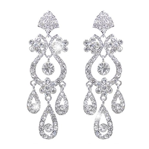EVER FAITH Bridal Silver-Tone Flower Vase Chandelier Clip-on Dangle Earrings Austrian Crystal (Clear Crystal Flower Earrings)