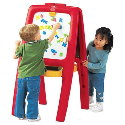 Step2 Easel for Two | Kids Double-Sided Art Easel with Magnetic Letters & Numbers | 94-Pc Accessory Set Included (Learning Easel)