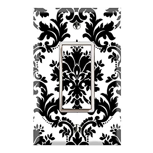 (Graphics Wallplates - Black and White Damask - Single Rocker/GFCI Outlet Wall Plate Cover)