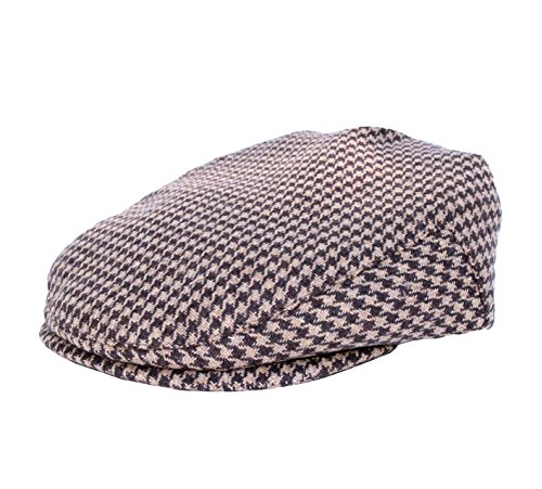 Born to Love - Baby Boy's Brown and Tan Hounsdstooth Vintage Flat Cap (NB(42 cm), Brown and Tan Hounsdstooth)