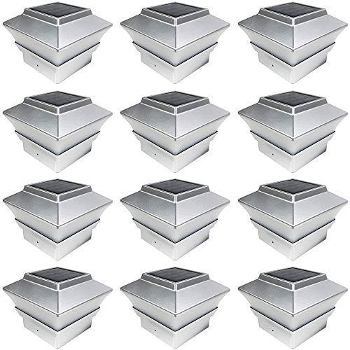 iGlow 12 Pack Silver Outdoor Garden 4 x 4 Solar LED Post Deck Cap Square Fence Light Landscape Lamp PVC Vinyl Plastic