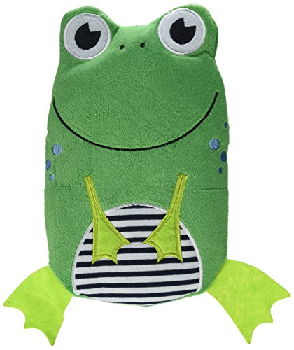 HUGO FROSCH, 0.8 L Kids Eco Hot Water Bottle with Animal Cover, Smiley Frog, Highest Quality - Made in Germany (Water Bottle Hot Kids)