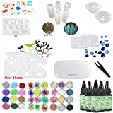 Frenshion 5 Pieces 30ML Crystal Epoxy Resin UV Glue,1 Pcs Mini UV LED Lamp, 1 Tweezer 3 Kit Set Decoration, 11Pcs Transparant Silicone Mould 100 Pieces Golden Rings Metal Accessories For Nail Art