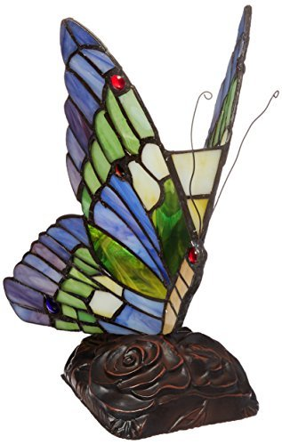 Chloe Lighting CH09B221NL 5-Inch Wide 1-Light Tiffany-Style Butterfly - Iris Bronze Lamp Table