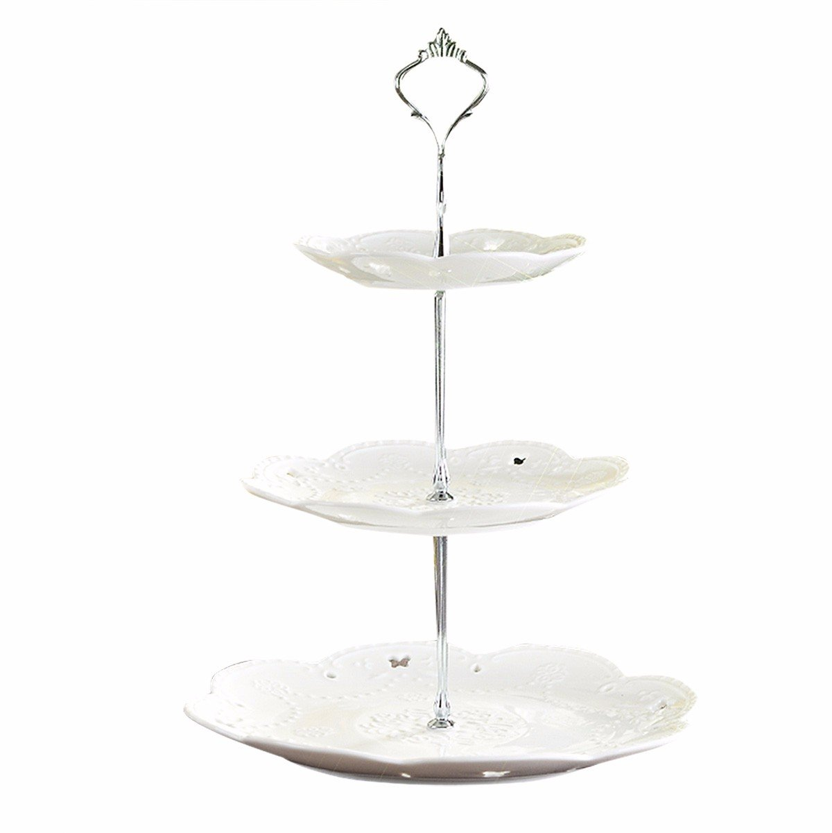 iiniim 1 Set Crown 3 Tier Fruits Cake Cupcake Plate Stand Handle Hardware Fitting Holder Silver One Size