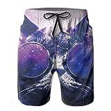 confirm vt Men's Swim Trunks Galaxy Cat Sunglass Quick Dry Board Shorts Bathing Suits Swimwear Volley Beach Trunks