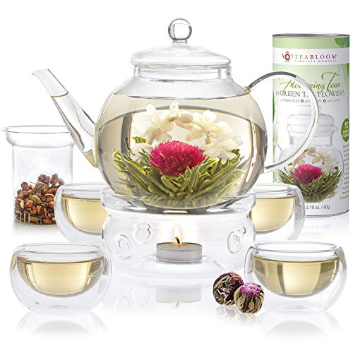 Teabloom Complete Tea Set - Stovetop Safe Glass Teapot with 12 Flowering Teas, Tea Warmer, 4 Double Wall Teacups & Removable Glass Infuser for Loose Leaf Tea - Celebration Flowering Tea Gift Set - Green Glass Basket