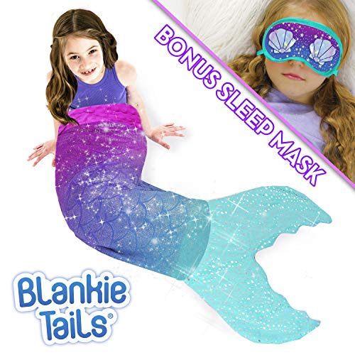 Blankie Tails Mermaid Tail Blanket with Bonus Sleep Mask Gift Set - Glitter Sparkle Purple/Aqua Ombre Mermaid Blanket-Double-Sided Minky Fleece Kids Size Mermaid Tail Wearable -