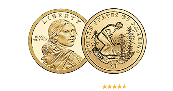 Free Shipping 2009 Sacagawea $1 Three Sisters Coin Native American