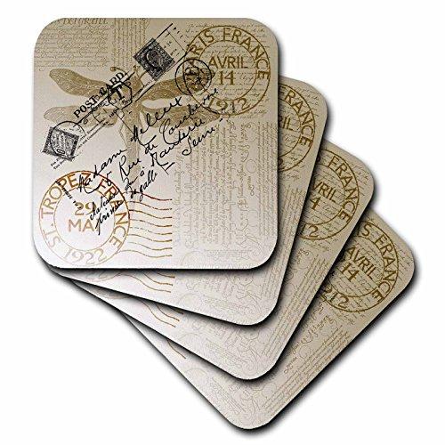 3dRose cst_79319_4 Vintage Dragonfly French Postcard Ceramic Tile Coasters, Set of ()