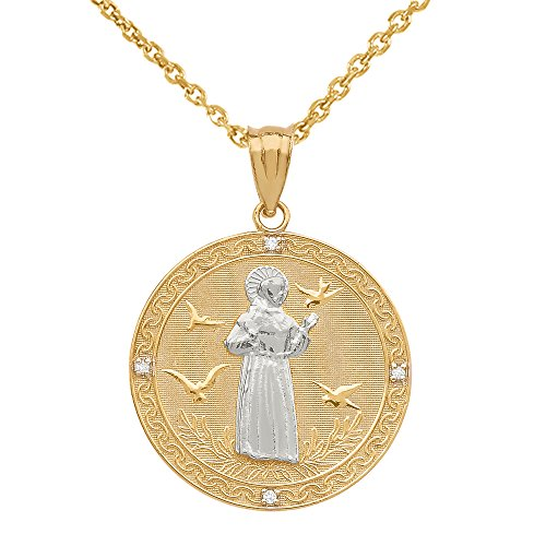 """14k Two-Tone Gold Saint Francis Of Assisi Diamond Round Medal Charm Necklace (Medium), 22"""""""