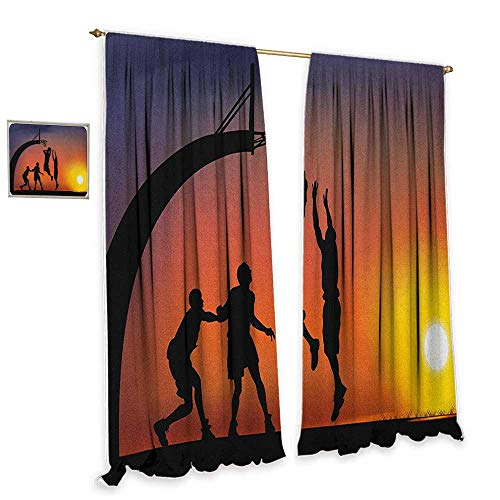 """Teen Room Light luxury high-end curtains Boys Playing Basketball at Sunset Horizon Sky with Dramatic Scenery Home Garden Bedroom Outdoor Indoor Wall Decorations 72""""Wx84""""L Dark Coral Black Yellow from cobeDecor"""