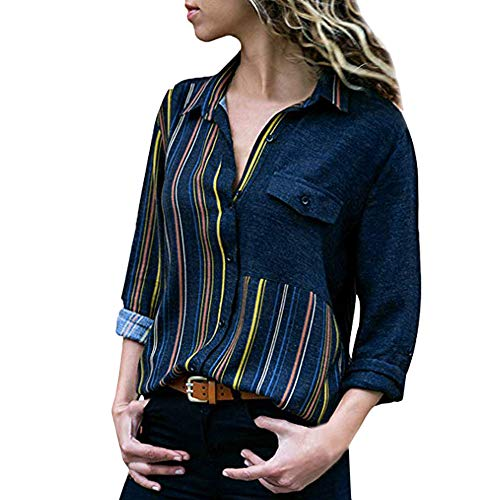 ZTTONE Women Casual Striped Cuffed Long Sleeve V-Neck Button-Up Color Block Blouse Tops