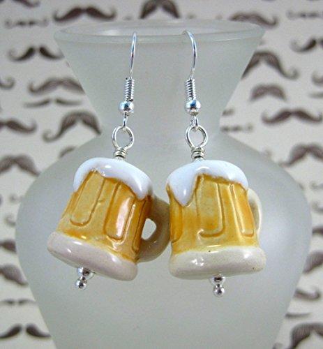 r Stein Mug Ceramic Bartender Barkeep Bar Maid Dangle Earrings by ArtsParadis (Fraternity Beer)