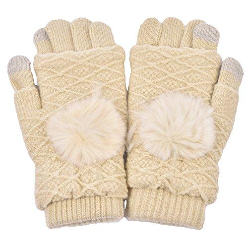 Women's Warm Winter Snow Gloves Mittens Beige - 2