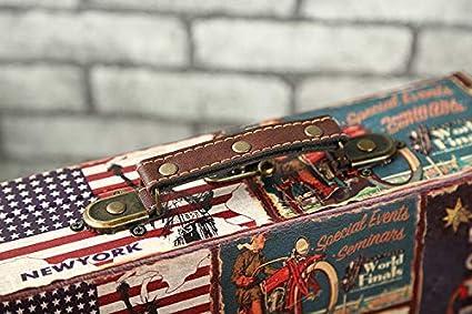YOSPOSS Retro Valigia Storage kz5134-w743/Lusso Stile Vintage in Legno Storage Box Tronco con UK//US Sign Style Old Valigia Atlas Design a Forma di Tronco di Legno Wedding Post Box B