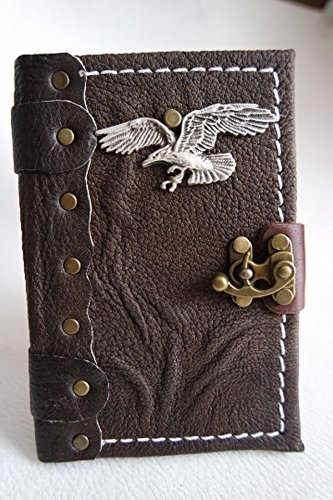 handmade leather small journal / handmade leather notebook with Eagle emblem / Leather Sketchbook / Leather Diary / leather bound
