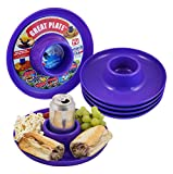 Great Plate – Plastic Party Plate for Food and Drink in One Hand - Purple, 6 Piece